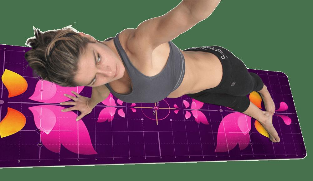 Yogi Aligned One Arm Side Plank Pose Matrix Mat Pink Butterfly