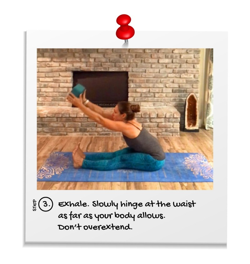 Yoga Pose Instruction Paschimottanasana Step 3. Third step to perform seated forward fold / bend. 3 – Exhale. Slowly hinge at the waist as far as your body allows. Don't overextend.